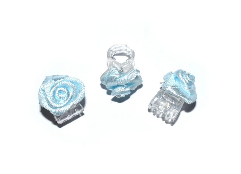 Skřipec do vlasů růžička - modrá, 1ks