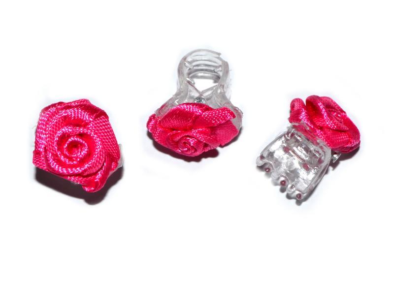 Skřipec do vlasů růžička - tmavě růžová, 1ks