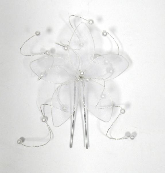 Vlásenka s kytičkou a bílými korálky - bílá