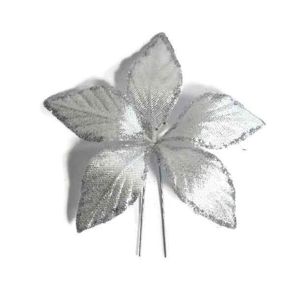 Vlásenka s velkou kytičkou - stříbrná s glitry