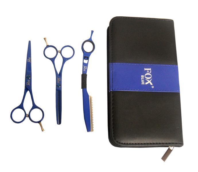 """Fox Sada kadeřnických nůžek Color Blue 5,5"""" + břitva - modrá (1509494, 1509507) + DÁREK ZDARMA"""