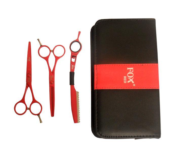 """Fox Sada kadeřnických nůžek Color Red 5,5"""" + břitva - červená (1509493, 1509506) + DÁREK ZDARMA"""