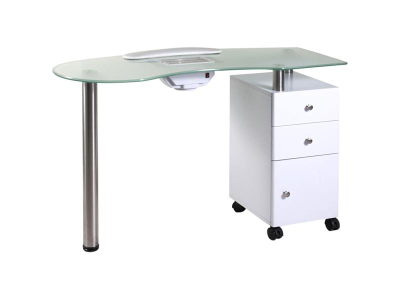 Manikúrní stolek se skleněnou deskou a odsáváním - bílý (53406B) - Hairway + DÁREK ZDARMA