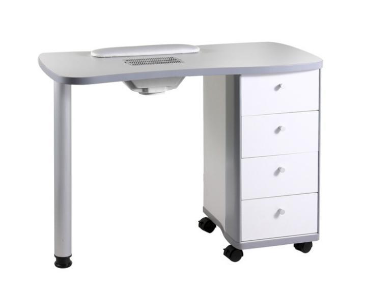 Manikúrní stolek s přídavným boxem a odsáváním - bílý (53414-B) - Hairway + DÁREK ZDARMA
