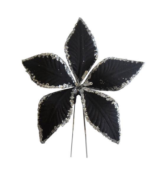 Vlásenka s velkou kytičkou - černá s glitry