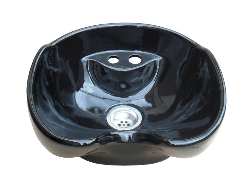 Hairway - umyvadlo pro mycí box New York - keramické, černé (57-01) + DÁREK ZDARMA