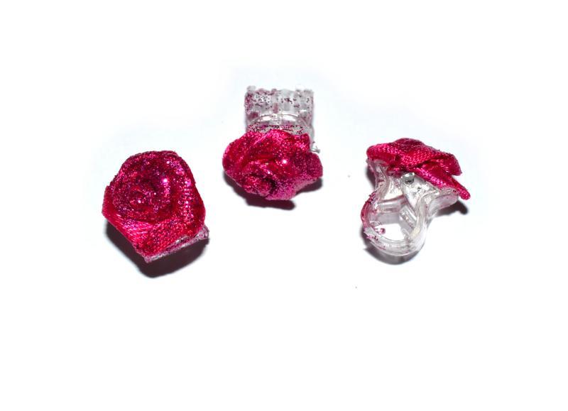 Skřipec do vlasů růžička - červeno-růžová s třpytkami, 1ks