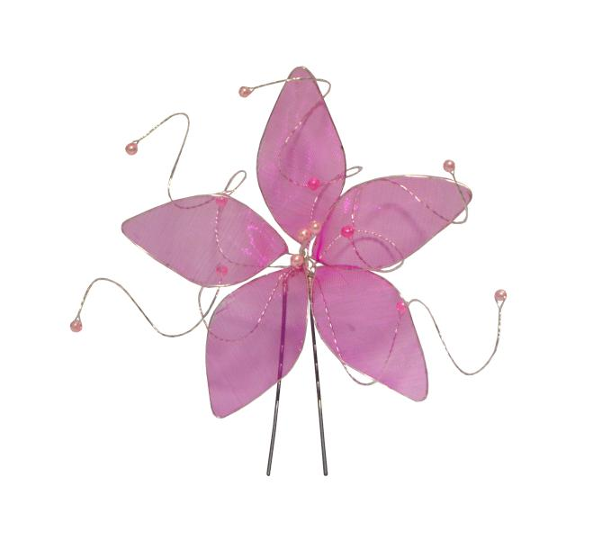 Vlásenka s velkou kytičkou a růžovými korálky - růžová