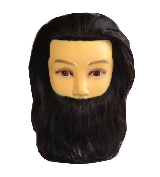 Mila Cvičná hlava s přírodními vlasy a vousy - pánská, hnědá (0068379) + DÁREK ZDARMA