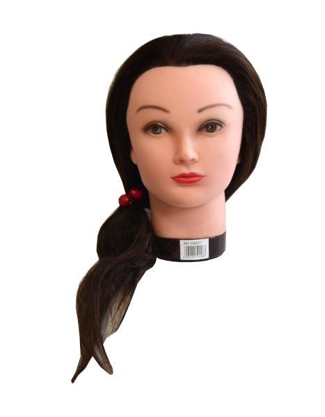 Mila Cvičná hlava s přírodními vlasy - hnědá, 50 cm (0068371) + DÁREK ZDARMA