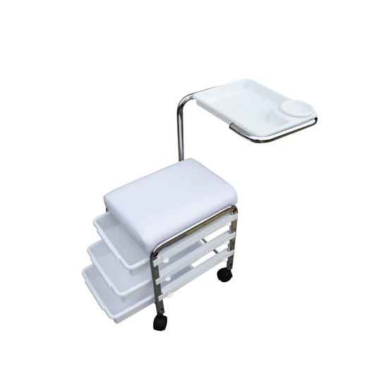 Manikúrní/pedikúrní stolička Weelko Brevis - 3 zásuvky, bílá (WK-M005) + DÁREK ZDARMA