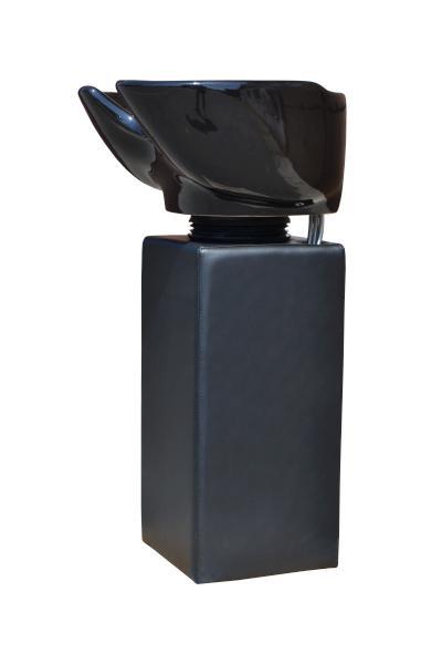 Kadeřnický sloupový mycí box Detail černá noha - černá mísa (DHS6661) + DÁREK ZDARMA