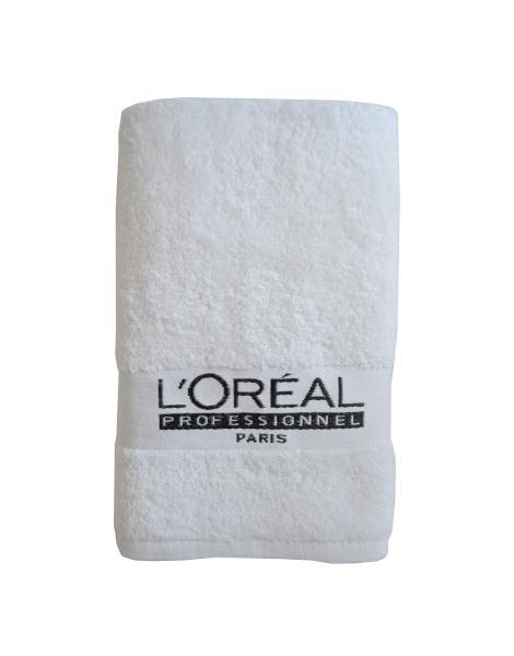 Ručník s černou výšivkou Loréal - bílý, bavlna, 49 x 82 cm