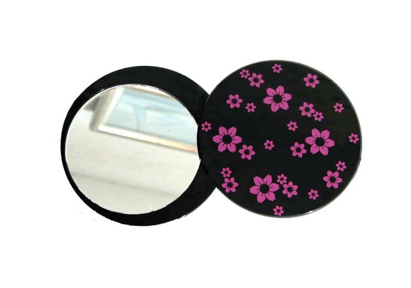 Kosmetické zrcátko Duko 3113 rozevíratelné - černé, pr. 77 mm