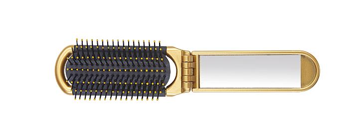 Cestovní kartáč Olivia Garden se zrcátkem - 40x105 mm, zlatý (2033149G)