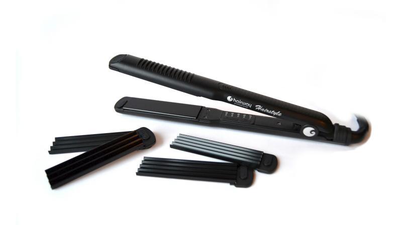 Hairway žehlička/krepovačka 3v1 - 28 x 100 mm, černá (04108) + DÁREK ZDARMA