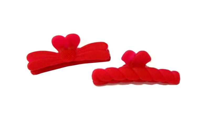 Plastový skřipec do vlasů Duko 1282 střední - červený (1282 - red)