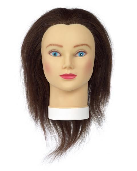 Cvičná hlava Sibel s přírodními vlasy - hnědé 35 cm (0030251) + DÁREK ZDARMA