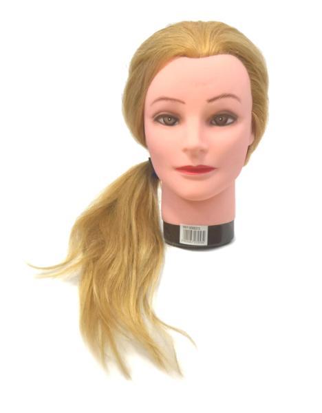Mila Cvičná hlava s přírodními vlasy - blond, 50 cm (0068373) + DÁREK ZDARMA