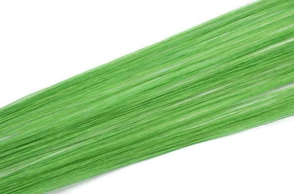 Vlasové pramínky Simply perfect - barva zelená 4 ks, 50 cm (Hightlight 18 Dark green) - Human hair + DÁREK ZDARMA