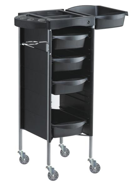 Kadeřnický vozík Hairway Profi 2 s přístavnou deskou - černý (50006) + DÁREK ZDARMA