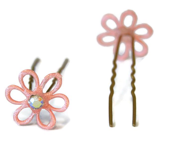 Vlásenka s kytičkou a duhovým kamínkem - starorůžová/zlatá