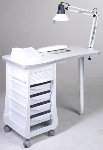 Manikúrní stolek s úložným prostorem, lampou a polštářkem Sibel (7310610) + DÁREK ZDARMA