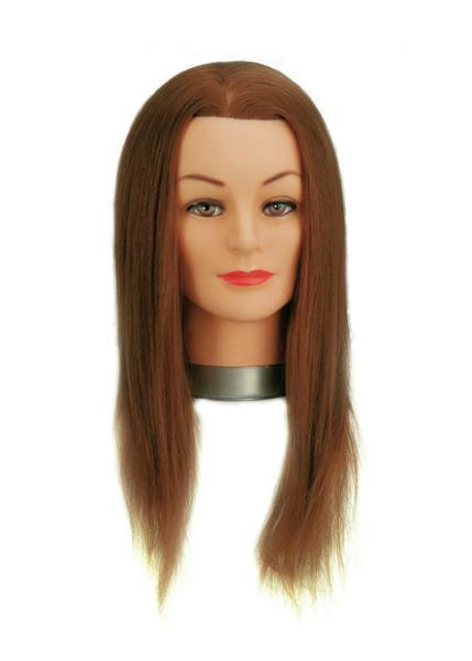 Cvičná hlava Sibel s přírodními i umělými vlasy - světle hnědé 40 cm (0030051) + DÁREK ZDARMA