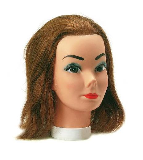 Cvičná hlava Sibel Eco s lidskými vlasy - hnědé 30 cm (0030301) + DÁREK ZDARMA