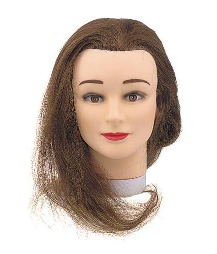 Cvičná hlava Sibel Student s přírodními vlasy - hnědé 40 cm (0030201) + DÁREK ZDARMA