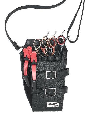 Kadeřnická kapsa na nůžky Sibel Boy 4 - černá (0151014) + DÁREK ZDARMA