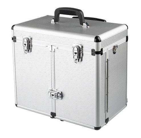Kadeřnický a kosmetický kufr na kolečkách Sibel Windows - stříbrný (0150391) + DÁREK ZDARMA