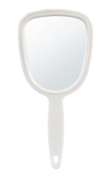 Kosmetické zrcátko s rukojetí Sibel - 10 x 21,8 cm, bílé (0130861)