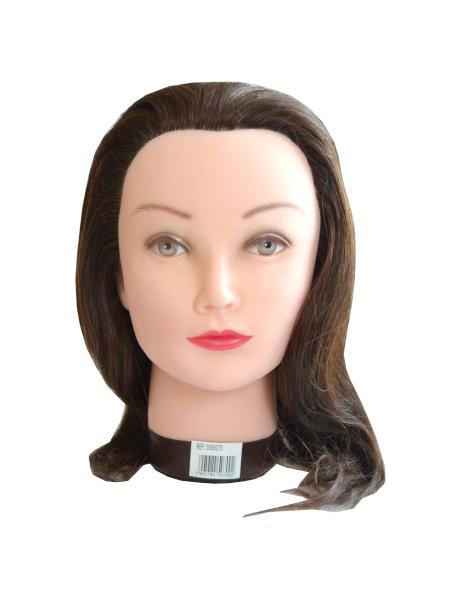 Cvičná hlava s přírodními vlasy Mila - 30-35 cm, hnědá (0068370) + DÁREK ZDARMA
