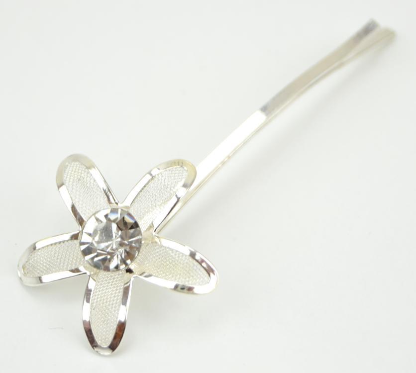 Svatební sponka ve tvaru kytičky s kamínkem - stříbrná, čirý