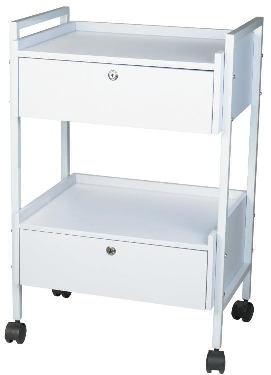 Kosmetický stolek na kolečkách SilverFox 1019, 2 zásuvky, bílý + DÁREK ZDARMA