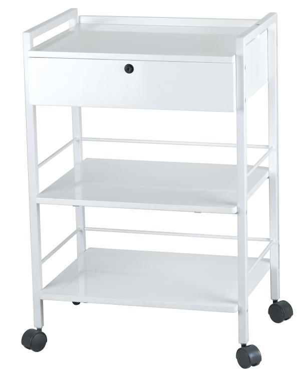 Kosmetický stolek na kolečkách SilverFox 1019A - 1 zásuvka, bílý + DÁREK ZDARMA
