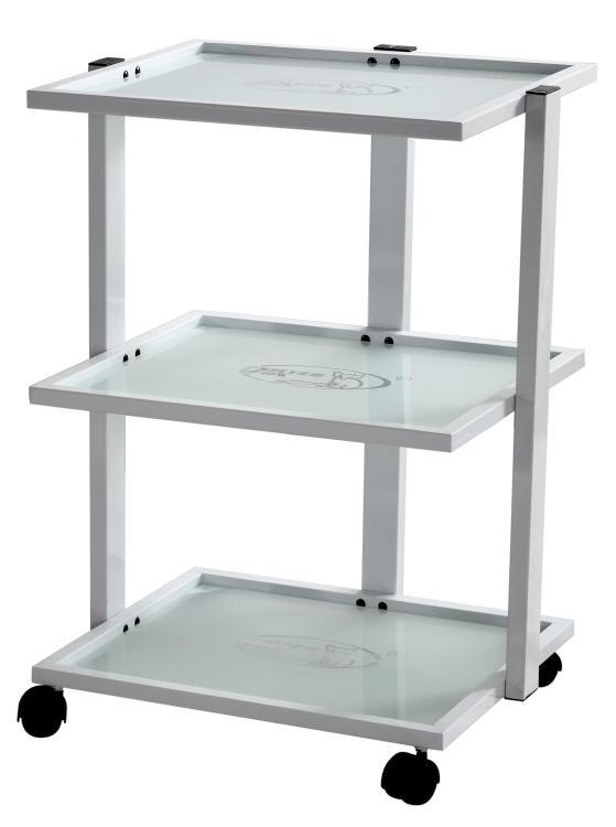 Kosmetický stolek na kolečkách SilverFox 1040 - 3 police, bílý + DÁREK ZDARMA