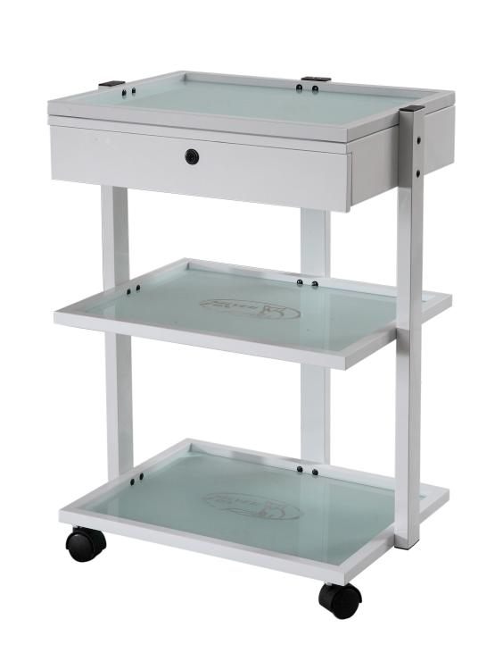 Kosmetický stolek na kolečkách SilverFox 1040A - 2 police, bílý + DÁREK ZDARMA