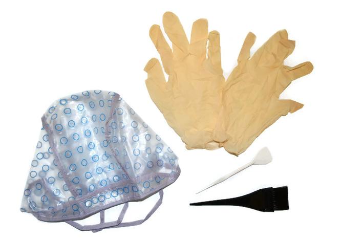 Set na barvení a melírování Mila - čapka, rukavice, štětec, špachtle (0068125)