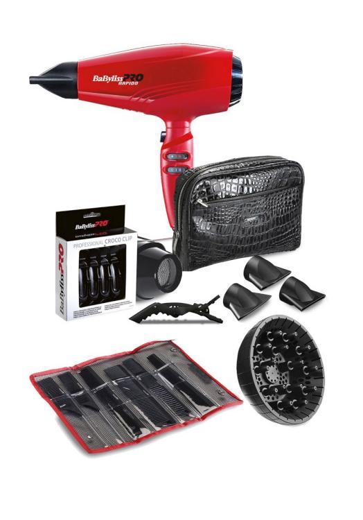 Fén na vlasy BaByliss Pro Rapido - 2200 W, červený (P1035E) + DÁREK ZDARMA