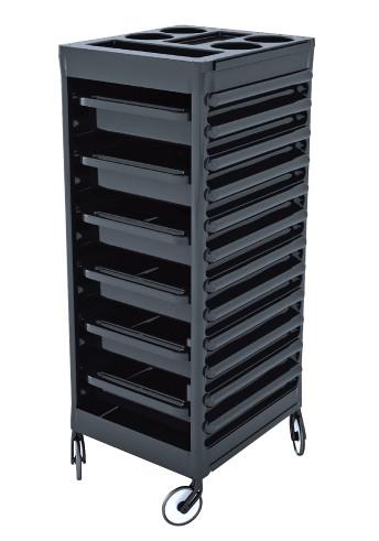 Pojízdný kadeřnický vozík s 6 zásuvkami Ceriotti Easy, černý (7216N) + DÁREK ZDARMA