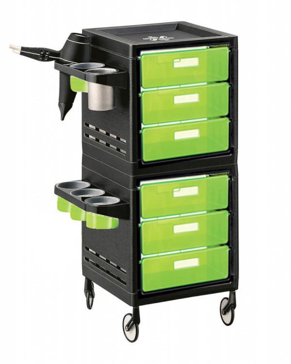 Kadeřnický pracovní vozík Ceriotti My, 6 zásuvek - zeleno/černý (7243z) + DÁREK ZDARMA