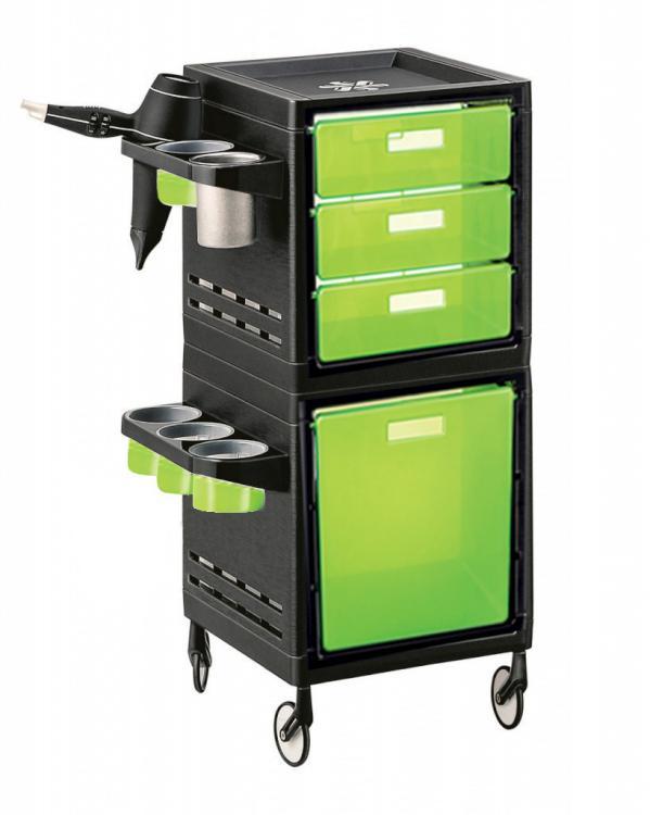 Kadeřnický pracovní vozík Ceriotti My, 4 zásuvky - zeleno/černý (7244verdi) + DÁREK ZDARMA