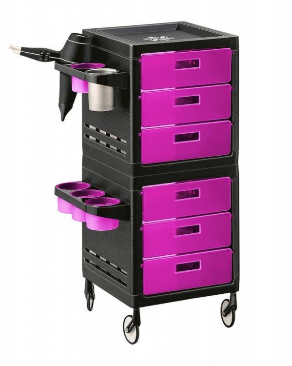 Kadeřnický pracovní vozík Ceriotti My, 6 zásuvek - růžovo/černý (7243r) + DÁREK ZDARMA