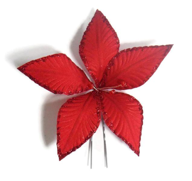Vlásenka s velkou kytičkou a červenými korálky - červená s glitry