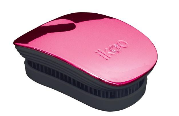 Cestovní kartáč na vlasy Ikoo Pocket Metallic Cherry - černo-růžový + DÁREK ZDARMA