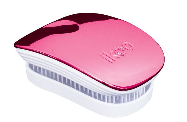 Cestovní kartáč na vlasy Ikoo Pocket Metallic Cherry - bílo-růžový + DÁREK ZDARMA