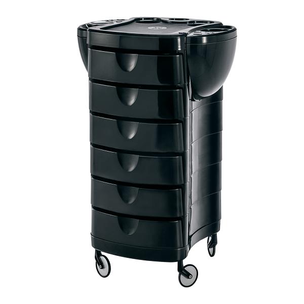 Kadeřnický pracovní vozík Ceriotti Duo, 6 zásuvek - černý (7235N) + DÁREK ZDARMA