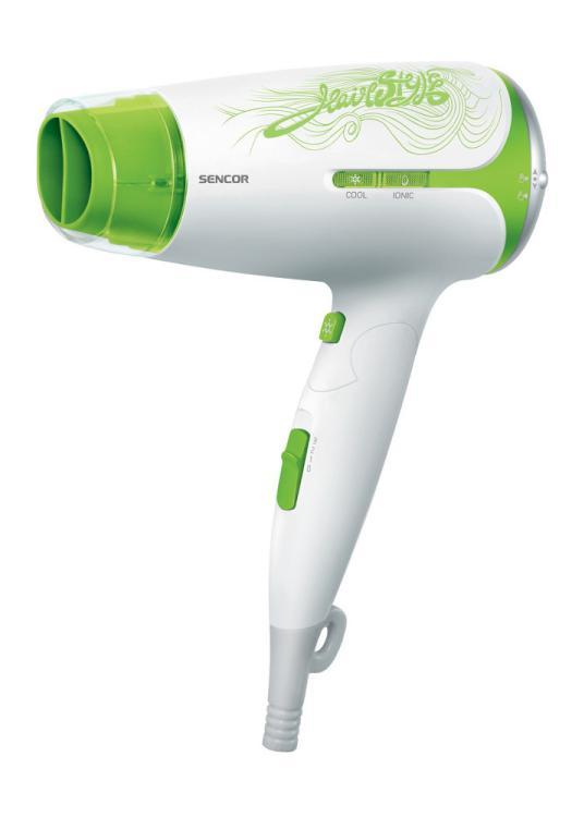 Cestovní fén na vlasy Sencor SHD 7221GR - bílo-zelený, 1800W + DÁREK ZDARMA
